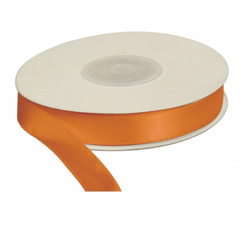 Wstążka satynowa dekoracyjna pomarańczowa 12mm/25m