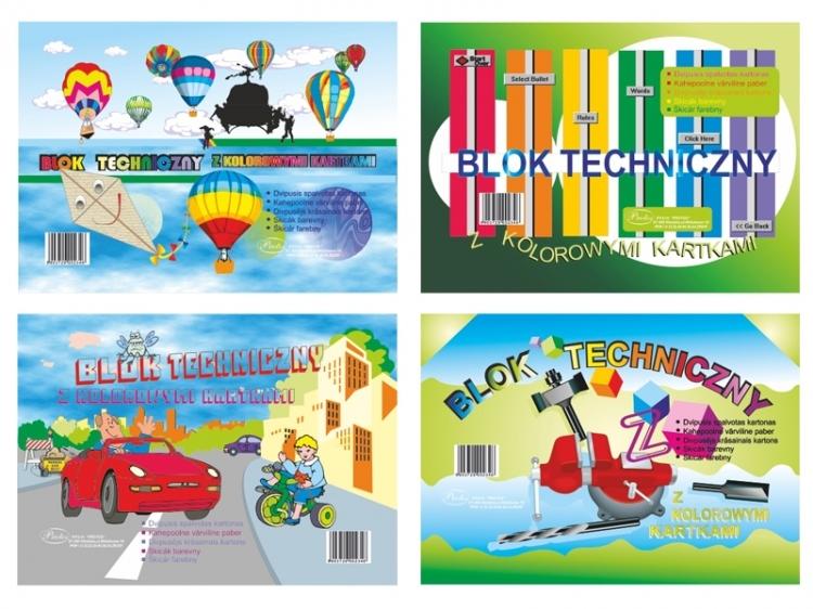 Blok techniczny kolorowy A4 8 kartek