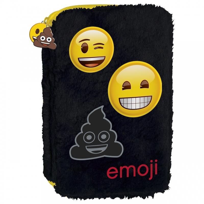 Piórnik dwukomorowy bez wyposażenia Emoji futerko