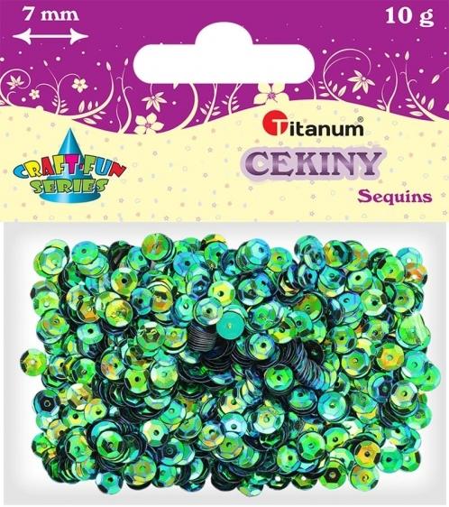 Cekiny kreatywne okrągłe zielone tęczowe 7mm 10g
