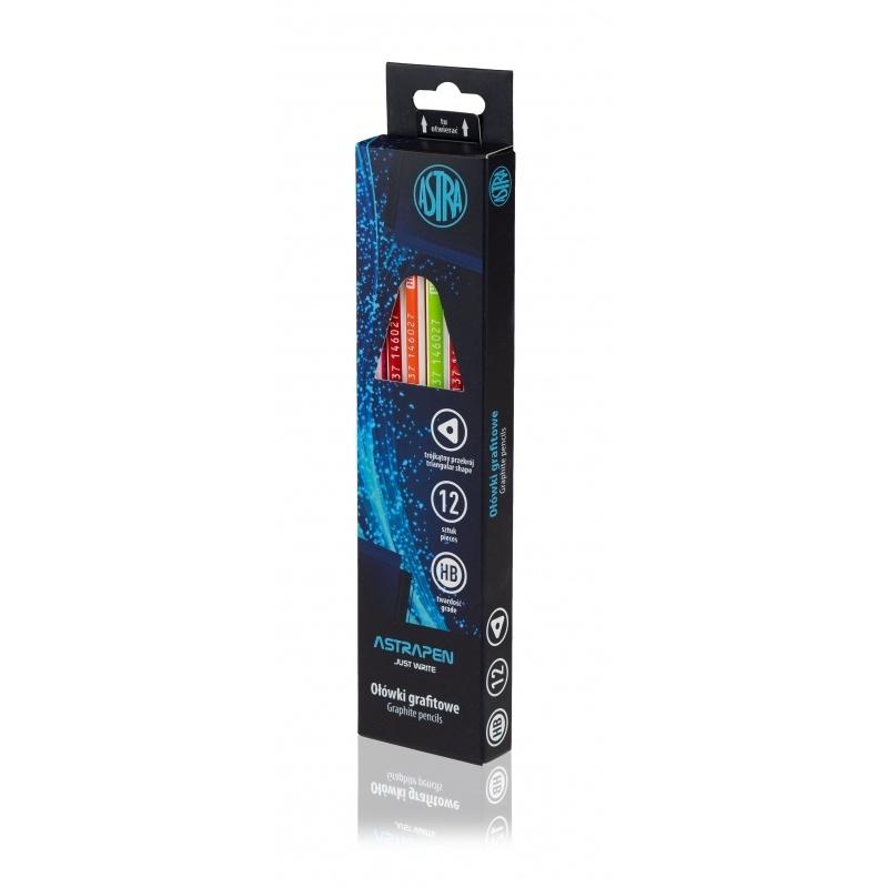 Ołówek trójkątny HB z gumką czarne drewno Astra