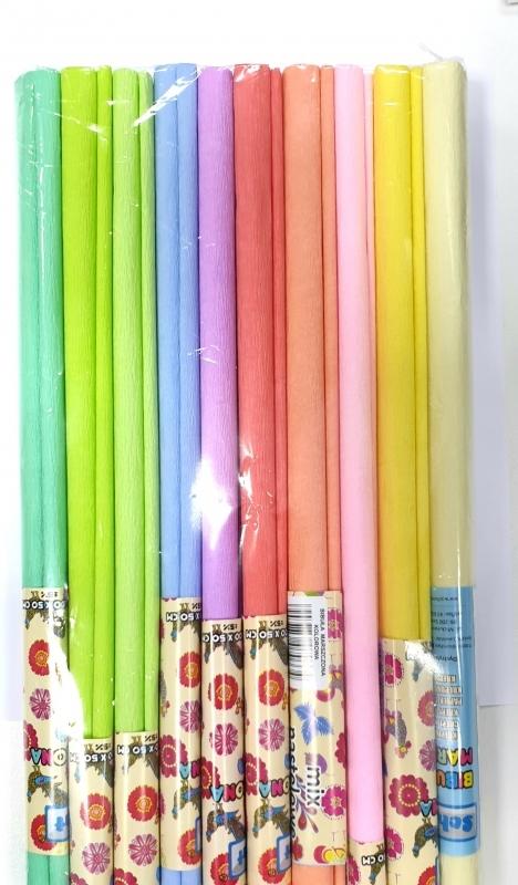 Krepa dekoracyjna 10szt kolory pastelowe