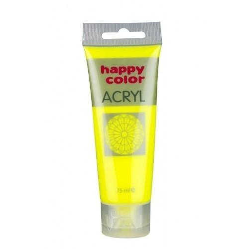 Farba akrylowa żółta  fluo 75 ml Happy  Color