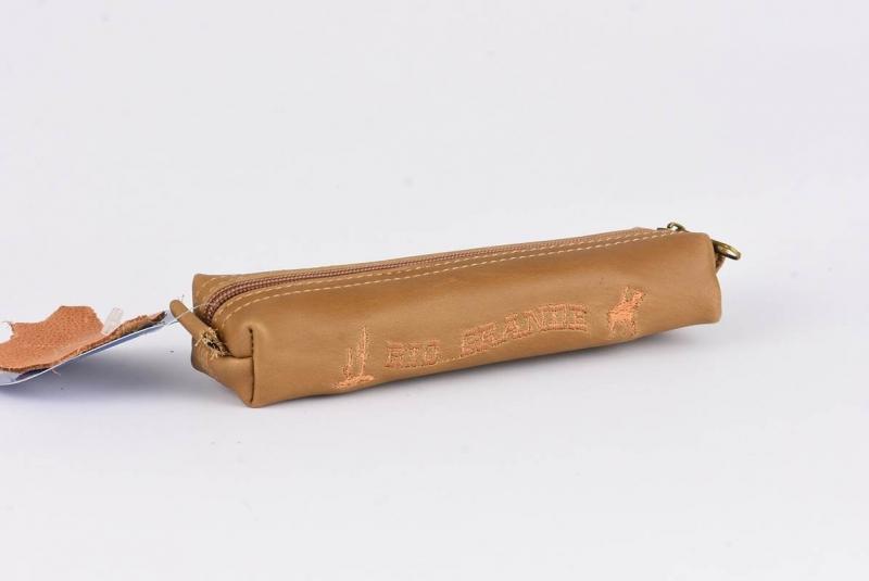 Piórnik tuba kwadratowa skóra z haftem WAR400