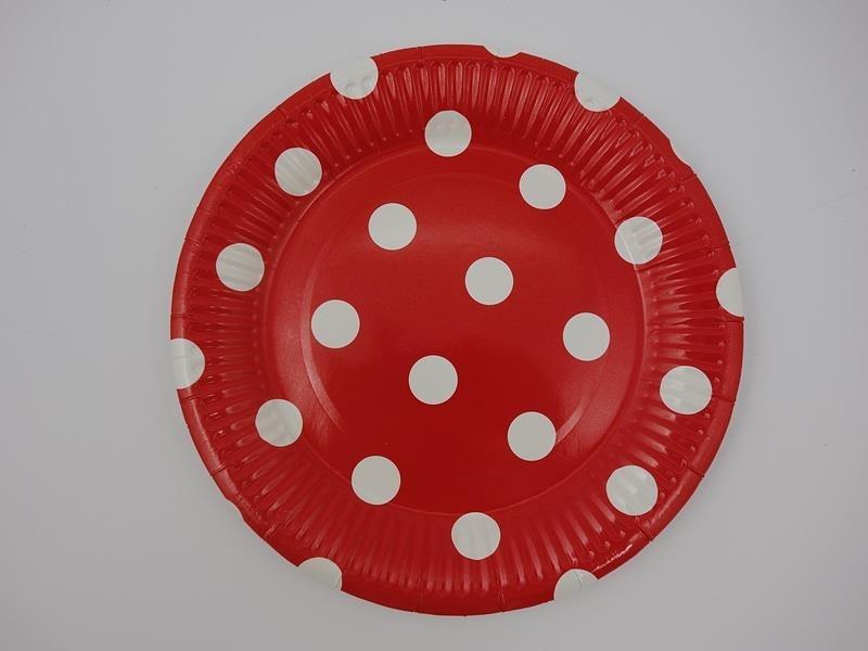 Talerz papierowy kolor kropka czerwony17,5cml A`10