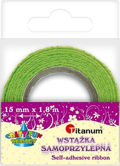 Wstążka bawełniana koronkowa j. zielona 15mmx1,8m