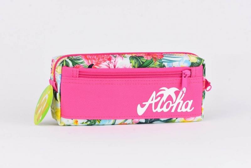 Piórnik saszetka z kieszonką  Aloha różowa  War552