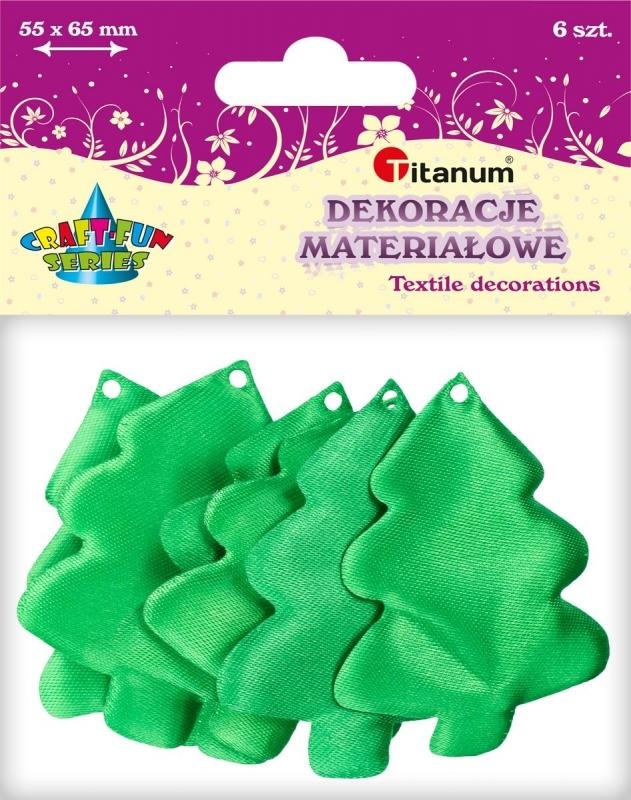 Dekoracje materiałowe choinka zielona5,5x6,5cm A`6