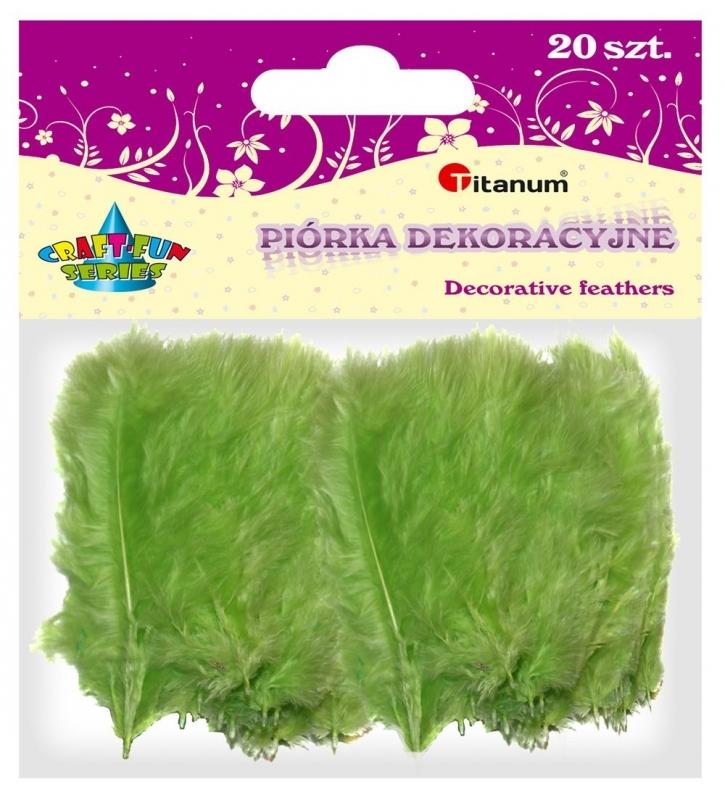 Piórka dekoracyjne kreatywne jasny zielony 110mm 20szt.