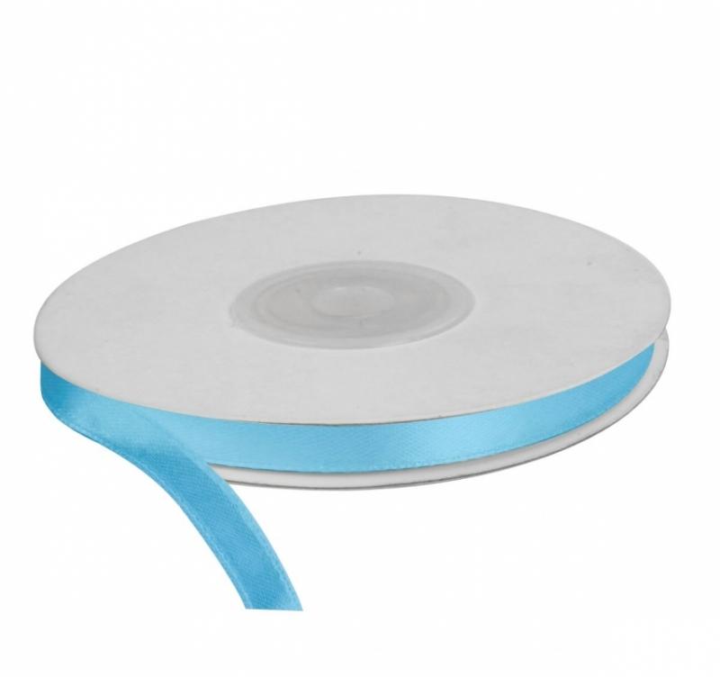 Wstążka satynowa dekoracyjna błękit 6mm/25m