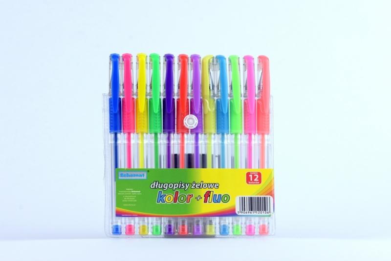 Długopisy żelowe + fluo 12 sztuk Schemat