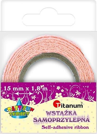 Wstążka bawełniana koronkowa różowa 15mmx1,8m