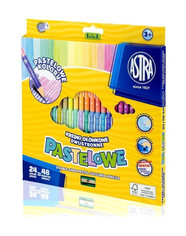Kredki ołówkowe trójkątne pastelowe 48 kolorów Astra