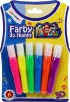 Farby do tkanin tęczowe 6 kolorów Flamingo