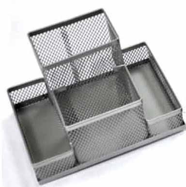 Przybornik na biurko metalowy czterokomorowy srebrny