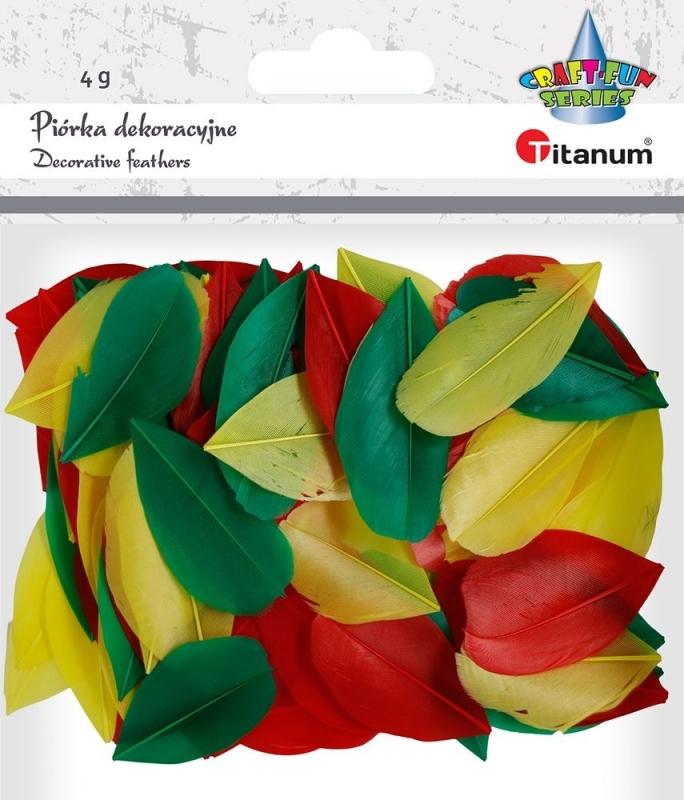 Piórka dekoracyjne mix czerwone, zielone, żółte 4g