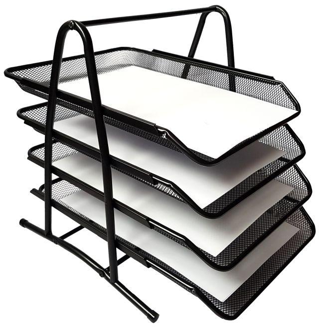Półka na dokumenty metalowa czarna 4A TRES