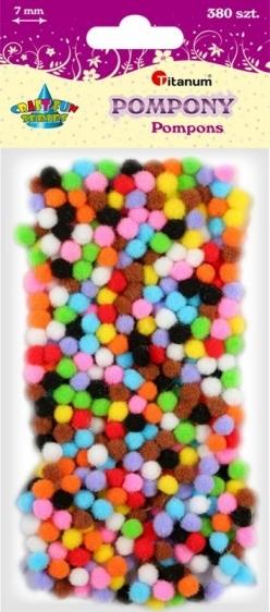 Pompony akrylowe kreatywne mix kolorów 7mm 380szt.
