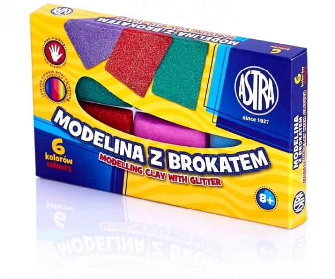 Modelina z brokatem 6 Kolorów Astra