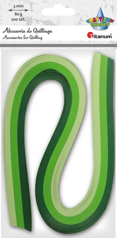 Paski do quillingu tonacja zielone  3mm 200szt