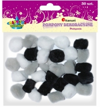 Pompony akrylowe kreatywne szary, biały, czarny 25mm 30szt.