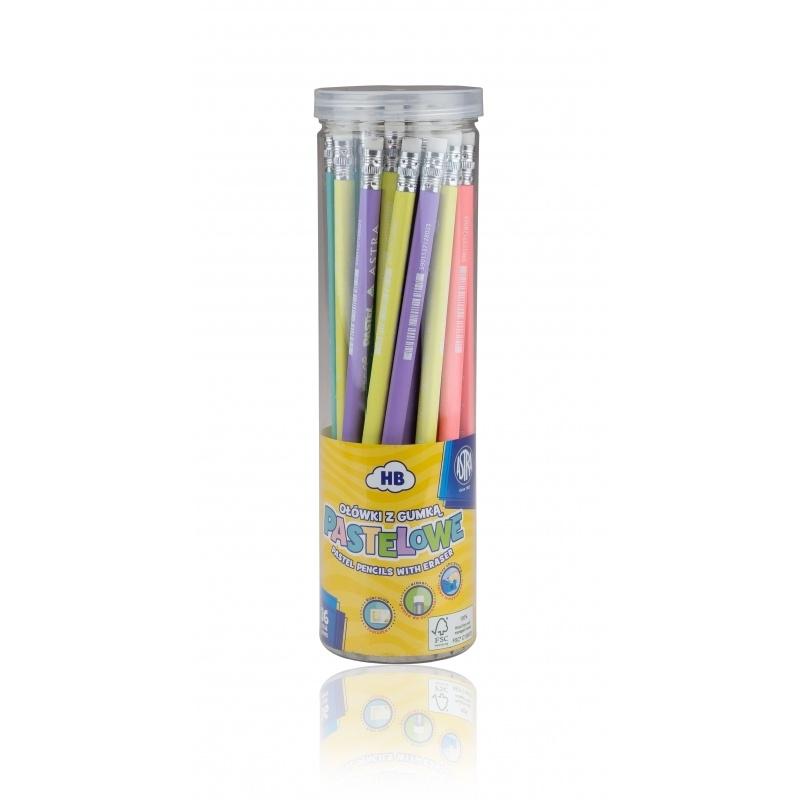 Ołówek trójkątny HB z gumką pastel z miarką Astra
