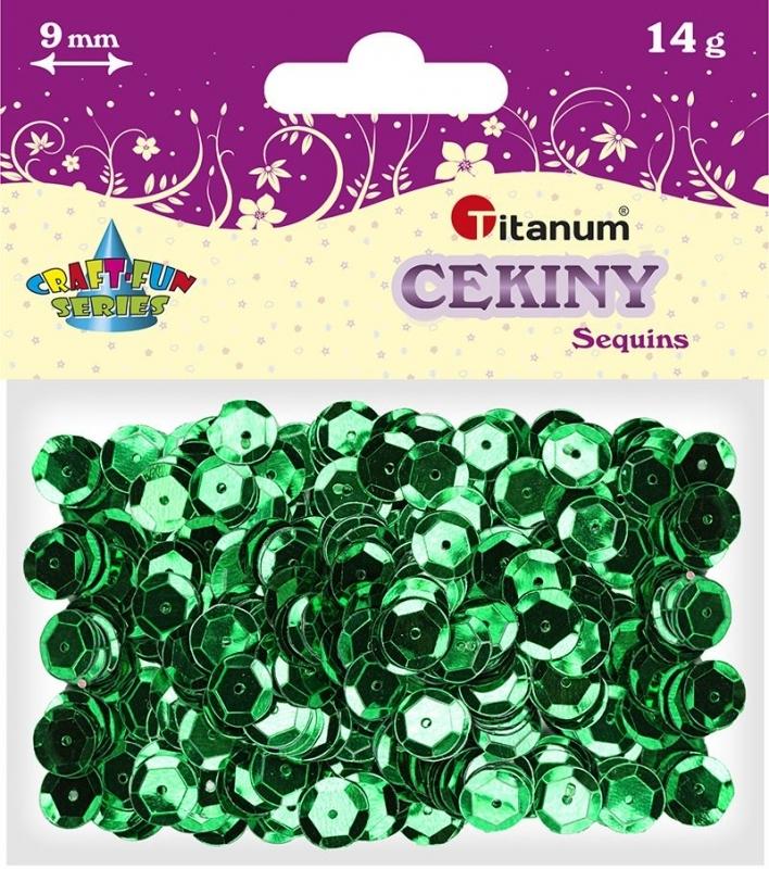 Cekiny kreatywne okrągłe metaliczne zielone 9mm 14g.